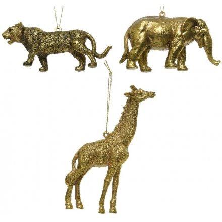 Glam Christmas Gold Shatterproof Wild Animal Hanging Decoration
