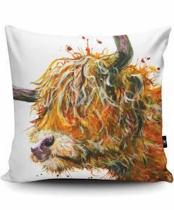 Messy Highland Cow Vegan Swede Cushion