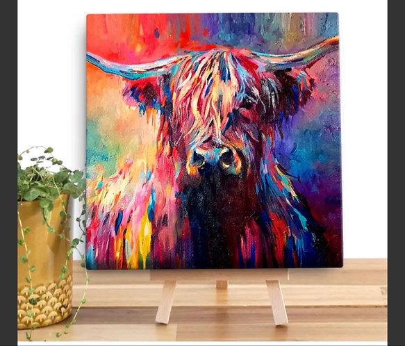 Harris Highland Cow Mini Canvas by Sue Gardner