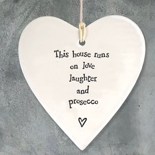 Porcelain Heart Hanger This House Runs on by East of India