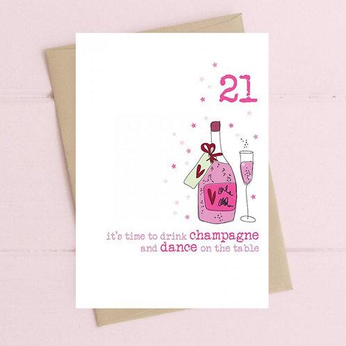 21st Birthday Card by Dandelion Stationery