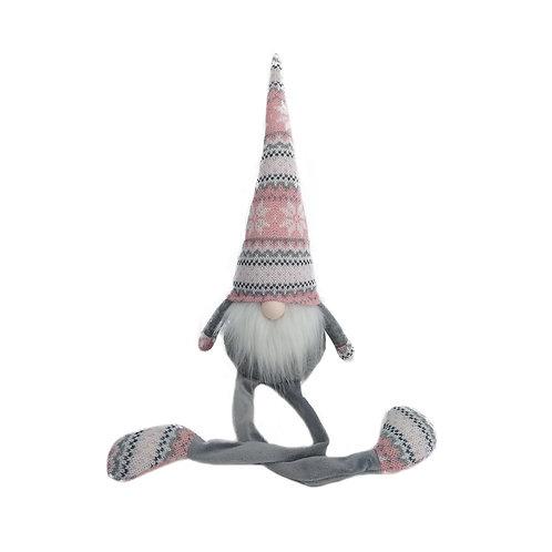 Sitting Long Legged Nordic Yule Gonk in Pink & Grey