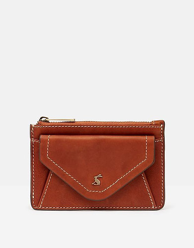 Faybridge Leather Card & Coin Purse in Tan by Joules