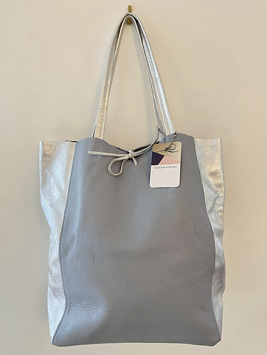 Italian Soft Leather Grosgrain Tote in Two Tone Blue & Silver