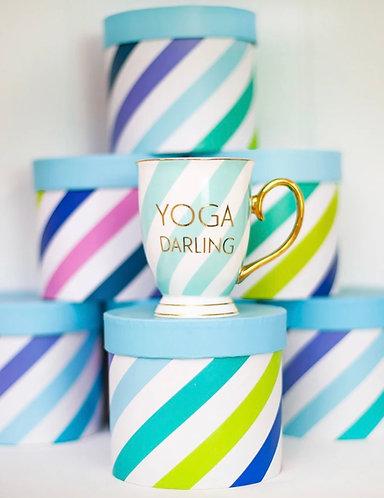 Yoga Darling Boxed Mug in Aqua Stripes by Bombay Duck London