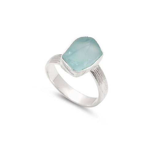 Sterling Silver Rough Cut Blue Topaz Adjustable Ring by Shoreline