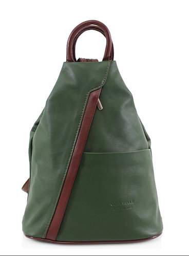 Italian Premium Soft Leather Backpack in Moss & Brown