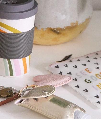 Rainbow Eco Portable Bamboo Coffee Mug by Caroline Gardner