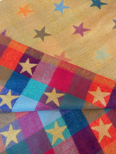 Supersoft Reversible Camel & Multicoloured Star Scarf