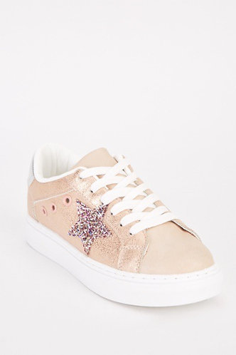 Low Top Rose Gold Trainers With Sequin Star