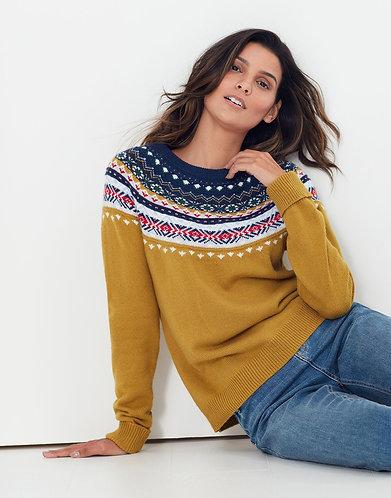 Boe Nordic Fairisle Sweater in Honey Gold by Joules