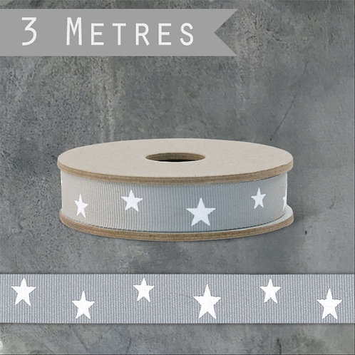 Grey Star Grosgrain Ribbon By East of India