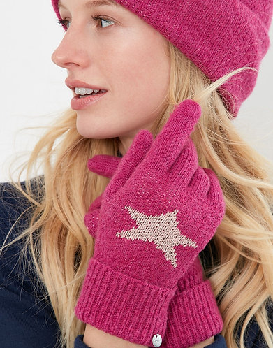 Vinnie Star Gloves in Hot Pink by Joules