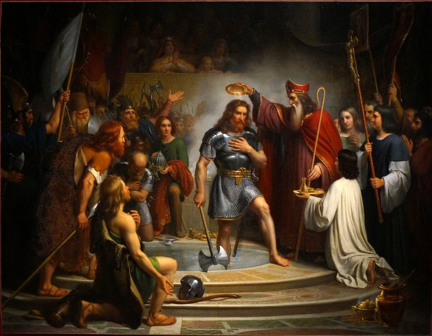 Clovis (with an axe) at his baptism