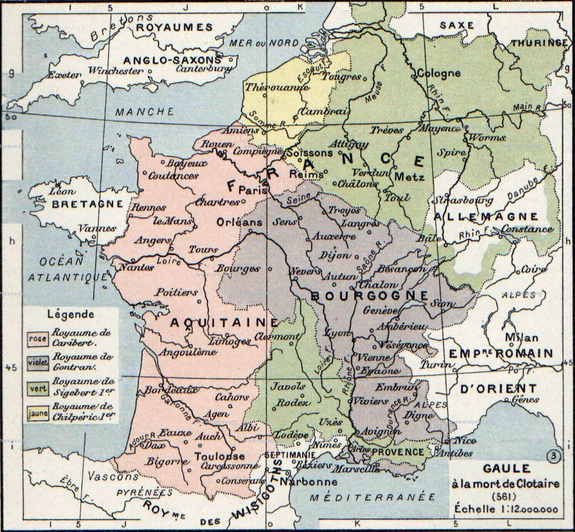 Francia at the death of Chlothar - 561