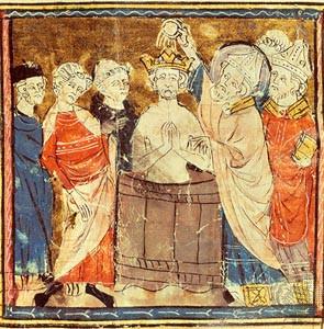 Clovis receives the sacrament from Remigius