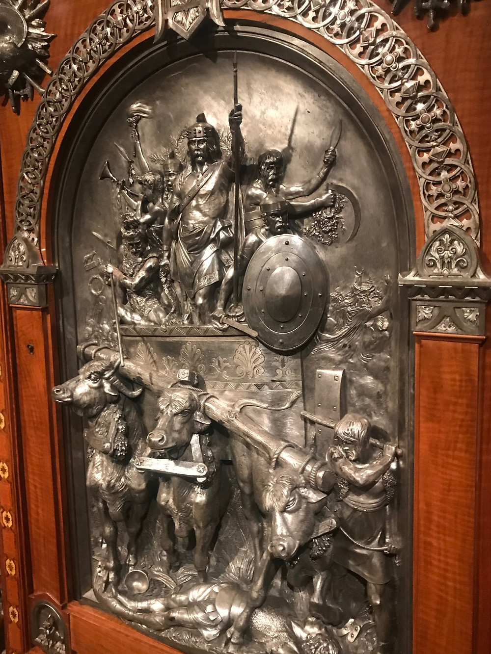 Sculpture on a wardrobe door at The Met