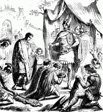 Romulus gives up the crown to Odoacer