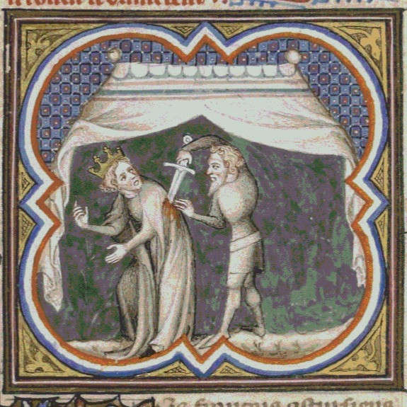 As seen in the Grandes Chroniques de France, vers 1375-1380. Paris, Bibliothèque Nationale de France, département des Manuscrits, Français 2813, folio 33