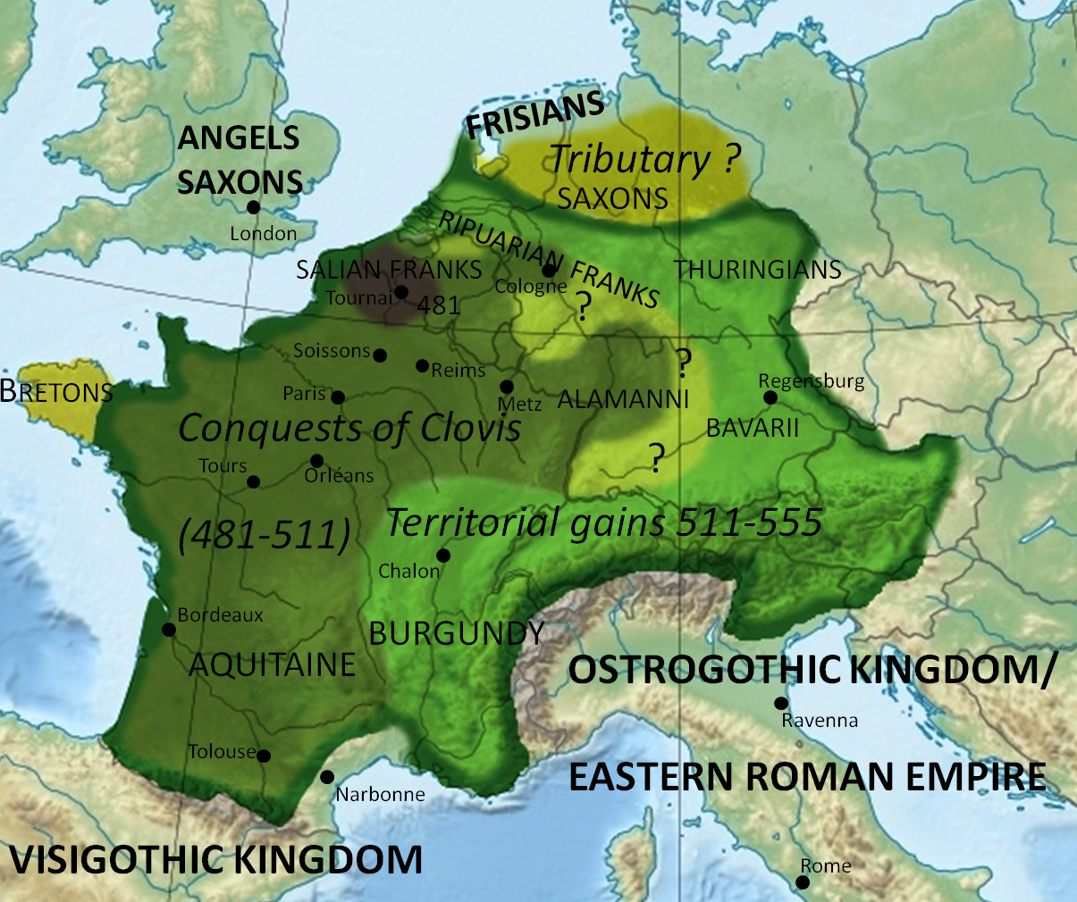 Expansion of the Frankish Empire: 481-555