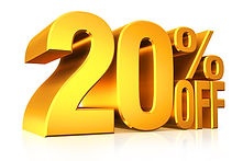 20 % OFF ALL BURGERS AND PIZZAS AT THE F