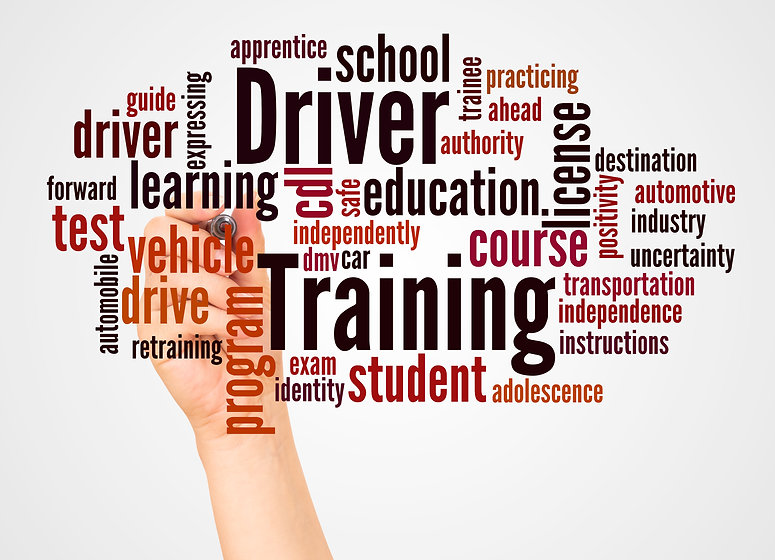 Driver Training word cloud and hand with