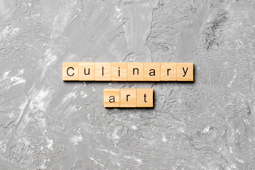 Culinary art word written on wood block.