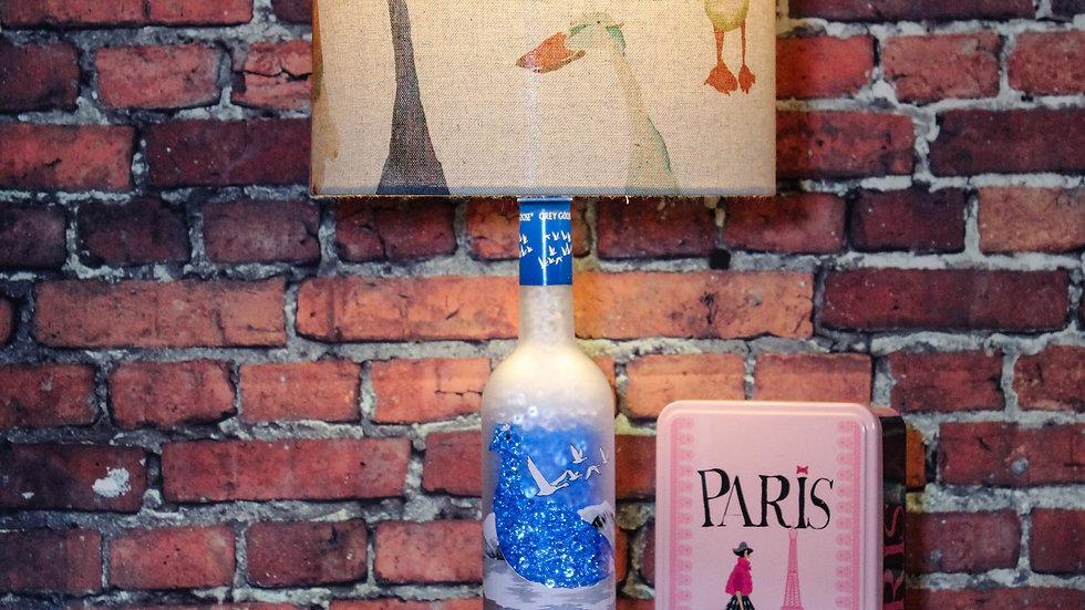 Duck Duck Goose - Handmade Bottle Lamp With Shade