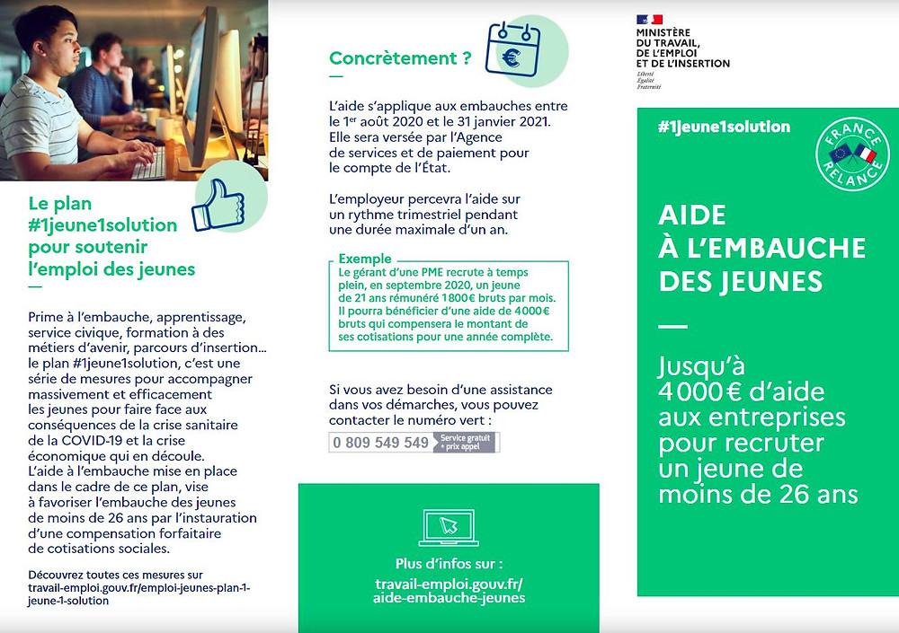 4 000 €maximum sur un an pour l'embauche en CDI ou en CDD d'au moins 3 mois