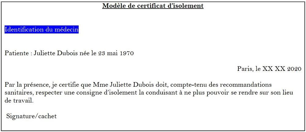 modele certificat isolement