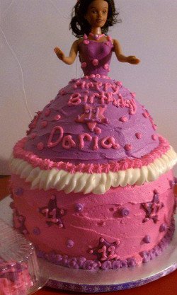 pink and purple doll cak