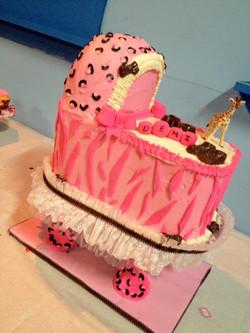 zebra cheetah bassinet cake