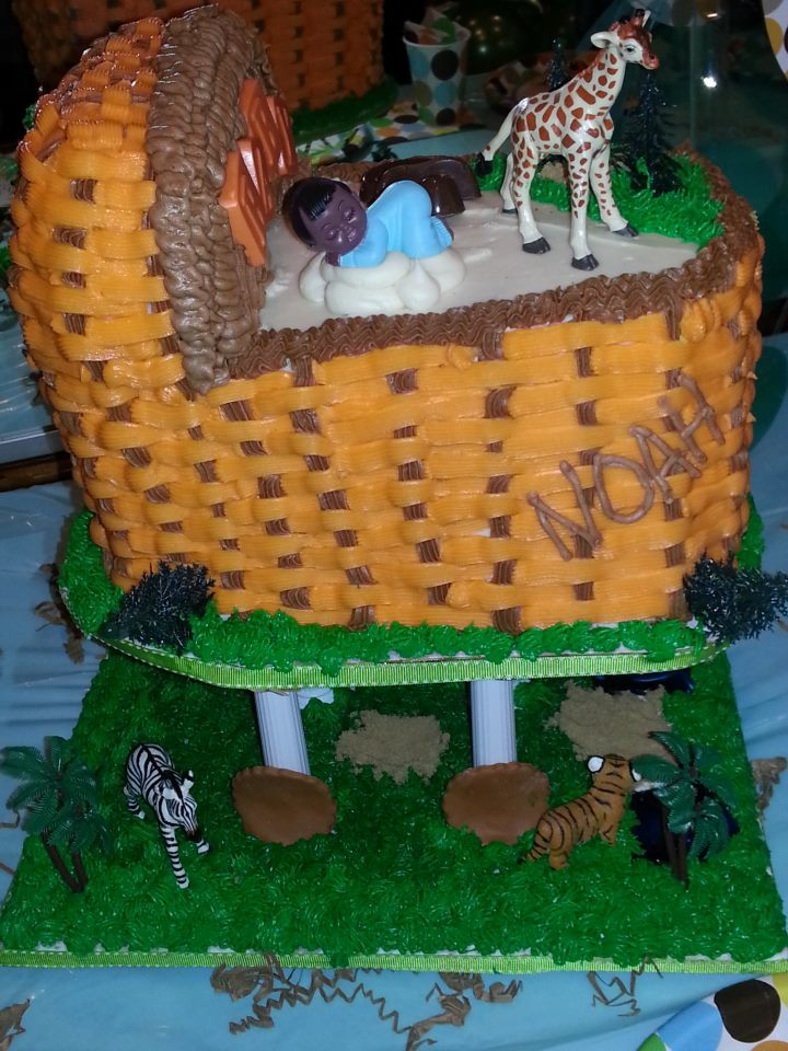 Jungle themed bassinet cake