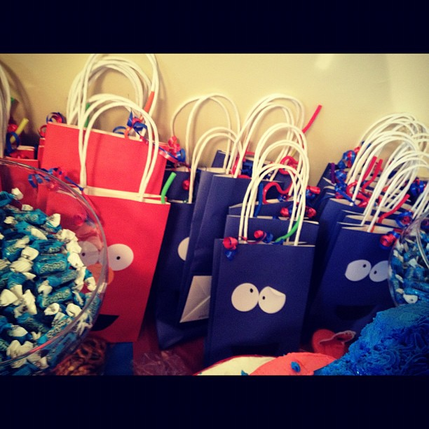 cookie monster and elmo bags