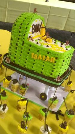 green brown bassinet cake 2