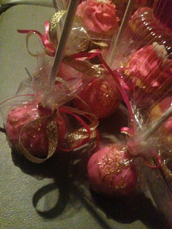 gold and pink cake pops
