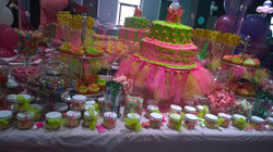 pink green baby shower treats table