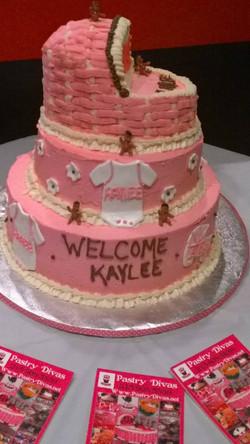 pink 3tier bassinet cake