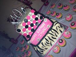 40th pink zebra cak