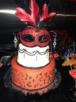 Cheetah Masquerade cake