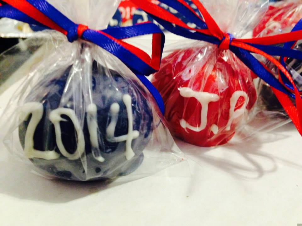 royal blue red cake pop