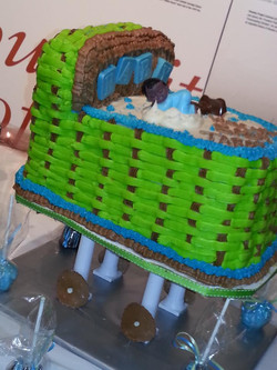 blue green brown bassinet cake