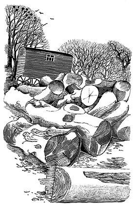 'Logs & Wagon' print