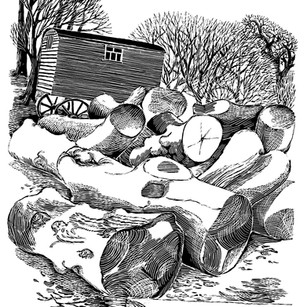 Logs and Wagon by Sally
