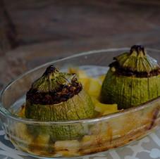 Courgettes farcies au soja