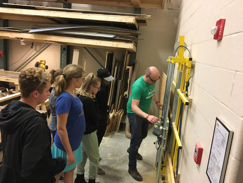 Learning how to use the panel saw.