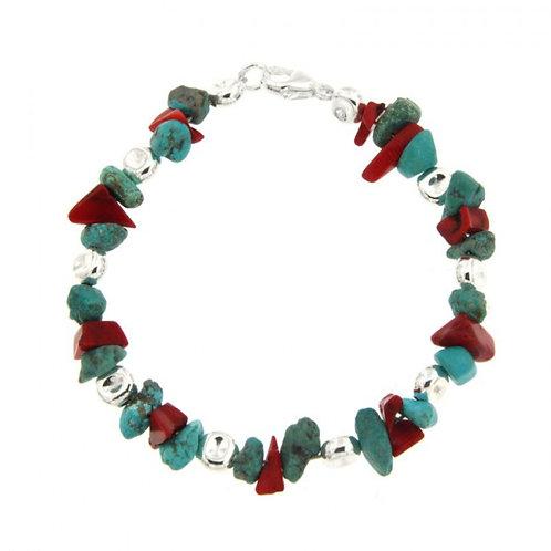 Réf. A139090C Bracelet Argent MASSAÏ/2 Bles Aplaties Chips Turquoise/rouge 20cm