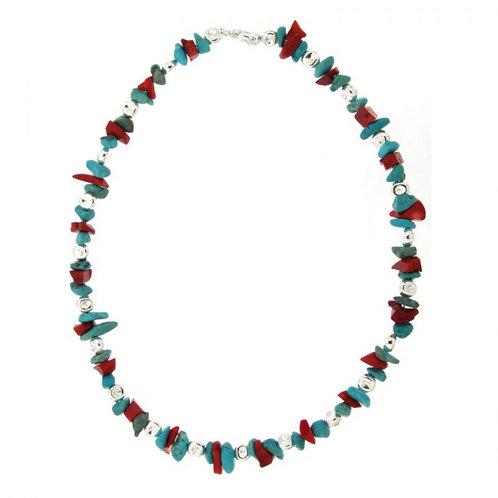 Réf. A139090F Collier Argent MASSAÏ/2 Bles Applaties Chips Turquoise/rouge 40cm