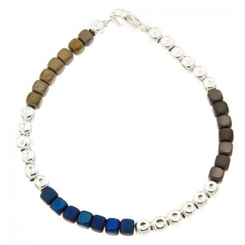 Réf. A139000C BM Bracelet Argent MASSAÏ Hématite Marine/Gold - L: 19cm - l:4mm