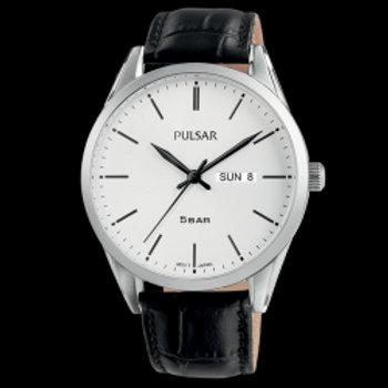 Pulsar Montre Homme Tradition Fond Blanc et Cuir Noir